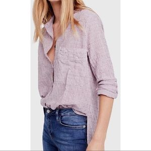 Free People No Limits Striped Button Back Top XS